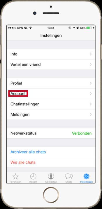 Blauwe vinkjes uitzetten in whatsapp - Instellingen