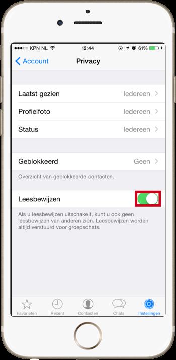 Blauwe vinkjes uitzetten in WhatsApp - Leesbewijzen