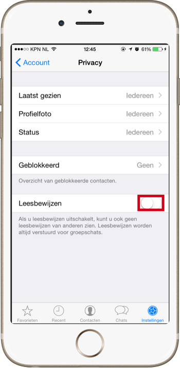 Blauwe vinkjes uitzetten in WhatsApp - Leesbewijzen uitzetten