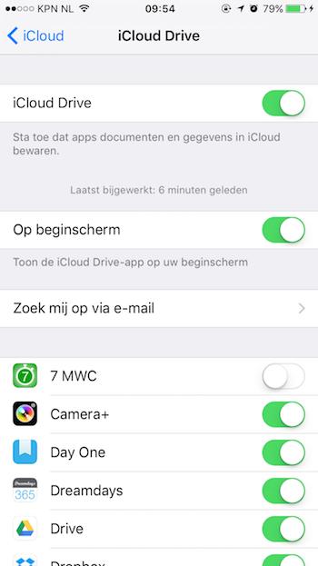 iCloud Drive Op Beginscherm