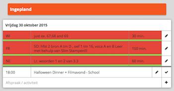 1Blik markering voltooid huiswerk - online agenda