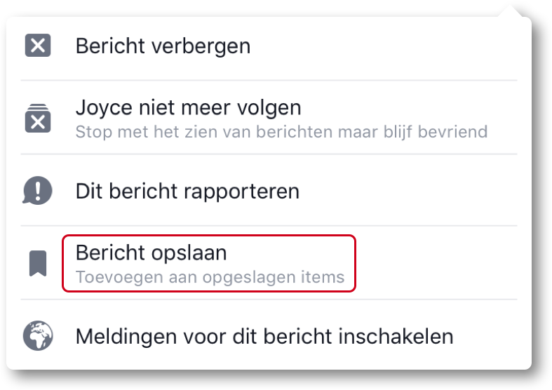 Facebook bericht opslaan