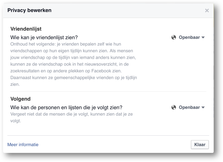 Facebook privacy bewerken