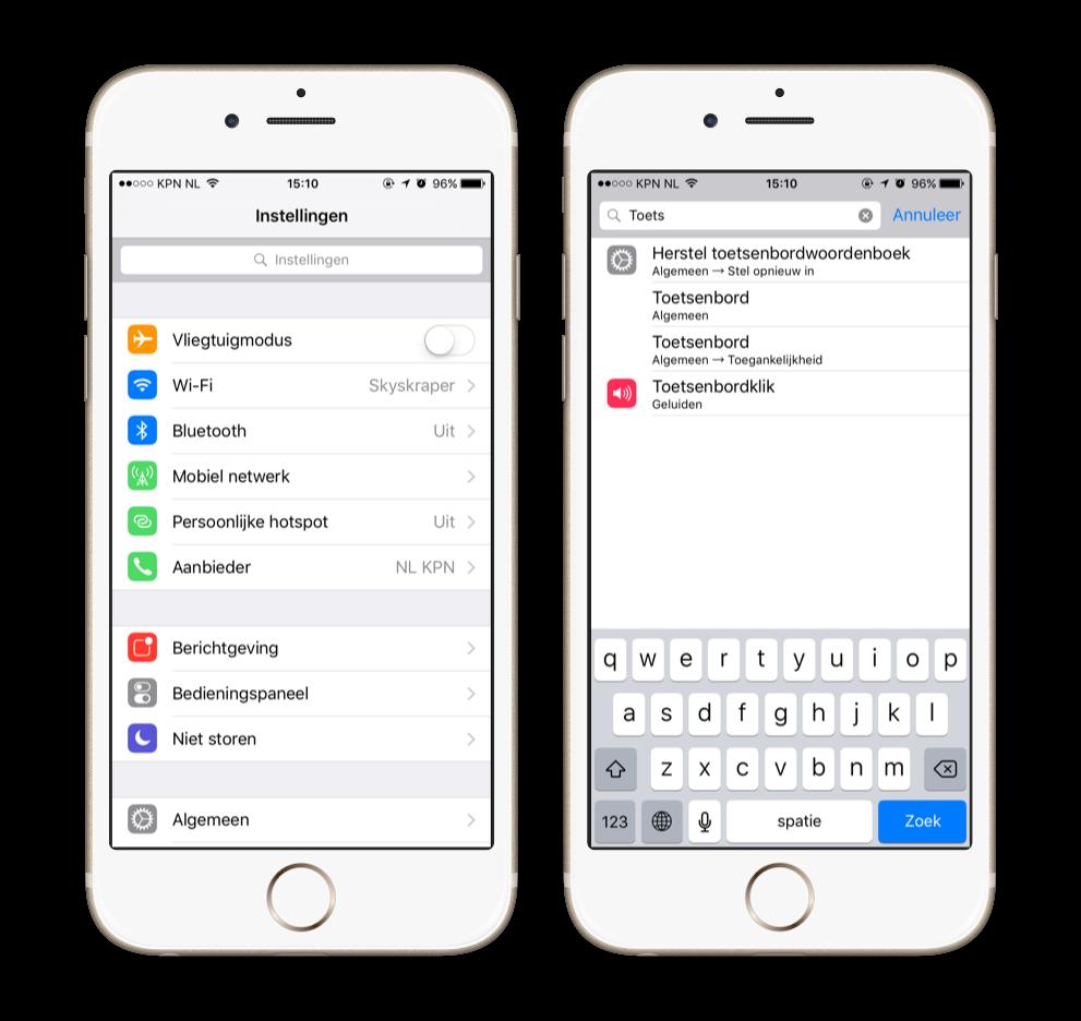 snel instellingen aanpassen op je iPhone