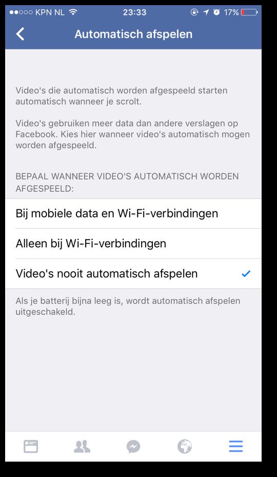 Facebook video's niet automatisch laten afspelen